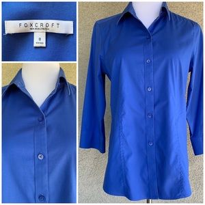 Foxcroft No-Iron Cotton Stretch Shirt Royal Blue